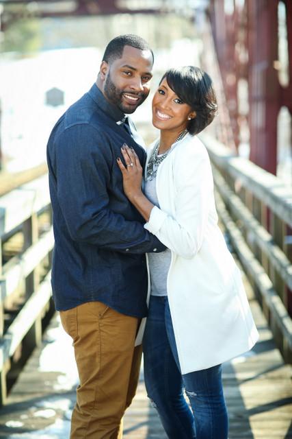 Black couple happy.