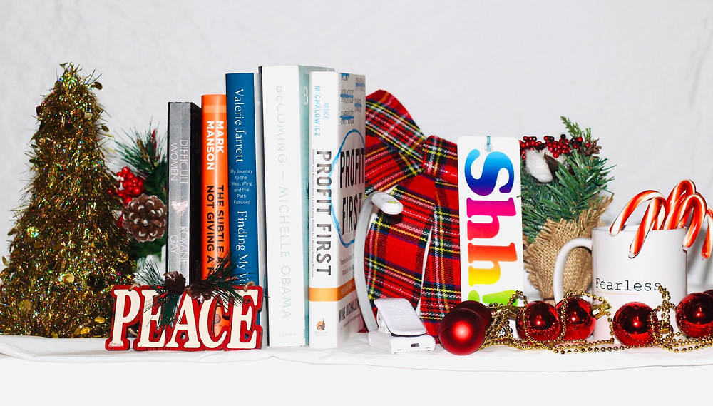 Christmas trinkets and books