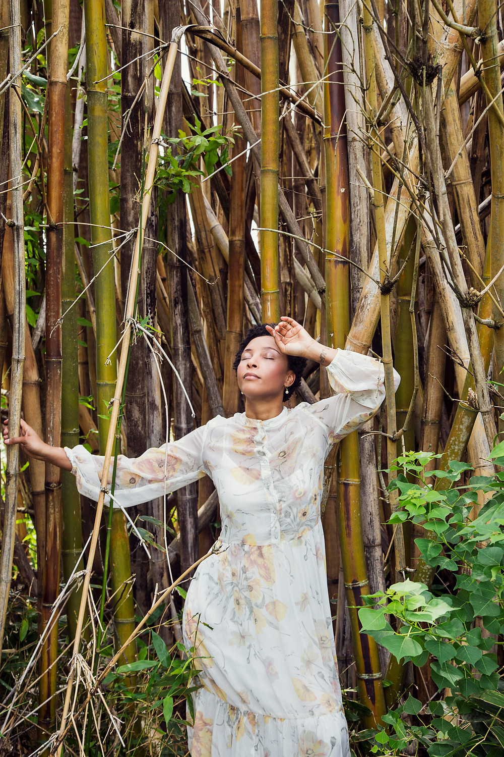 Woman reflecting in bamboo tree stalks