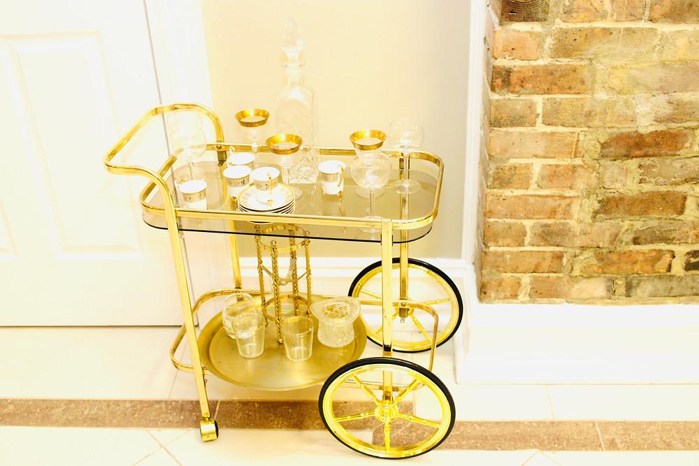 Antique bar cart.