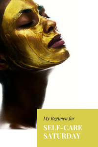 Black women with gold face mask
