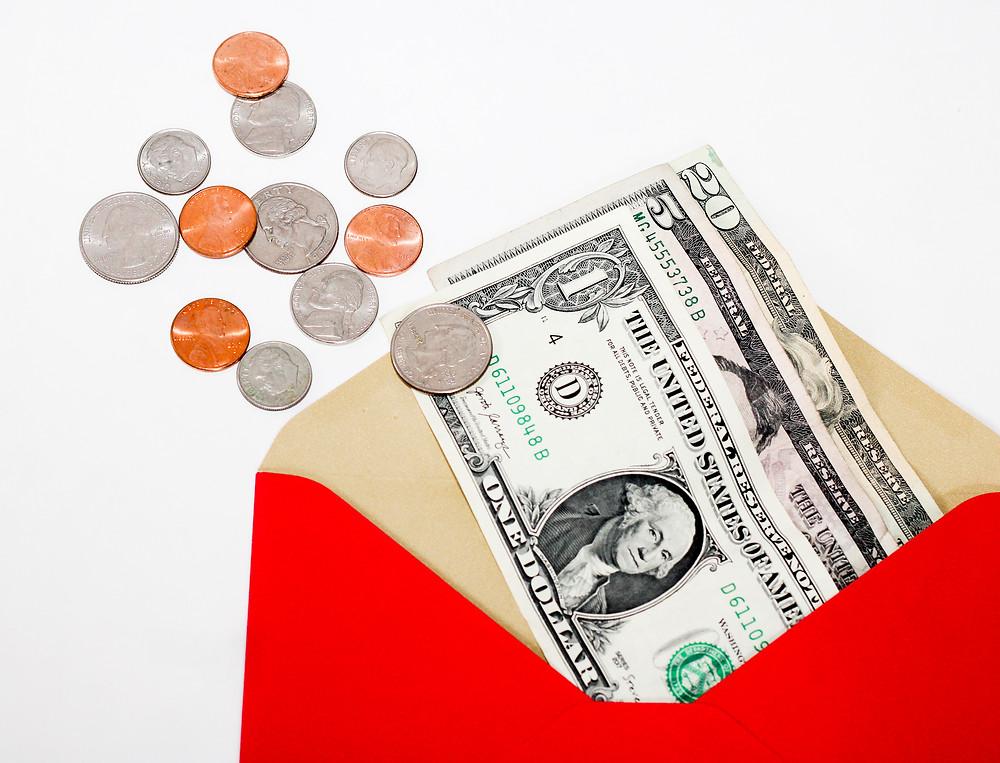 Money in an envelope.