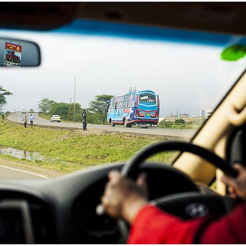 Streets of Nairobi through a car window