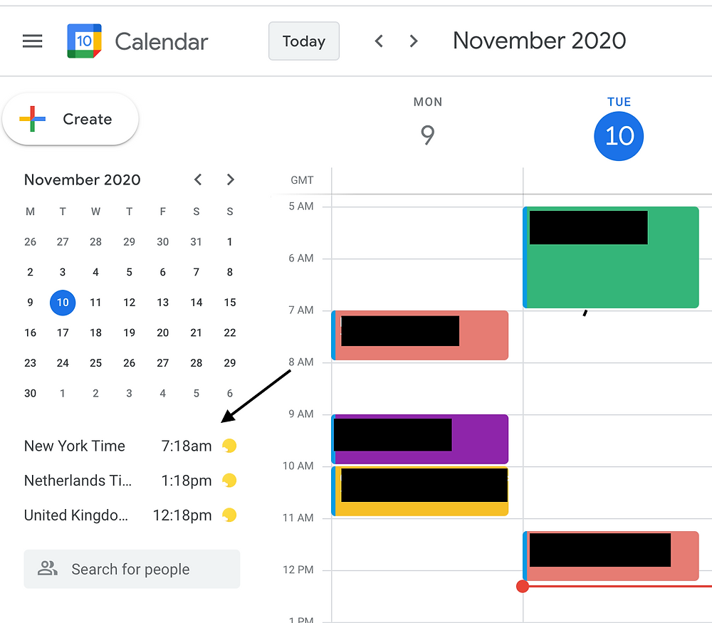 Screenshot showing the world clock feature on Google Calendar.