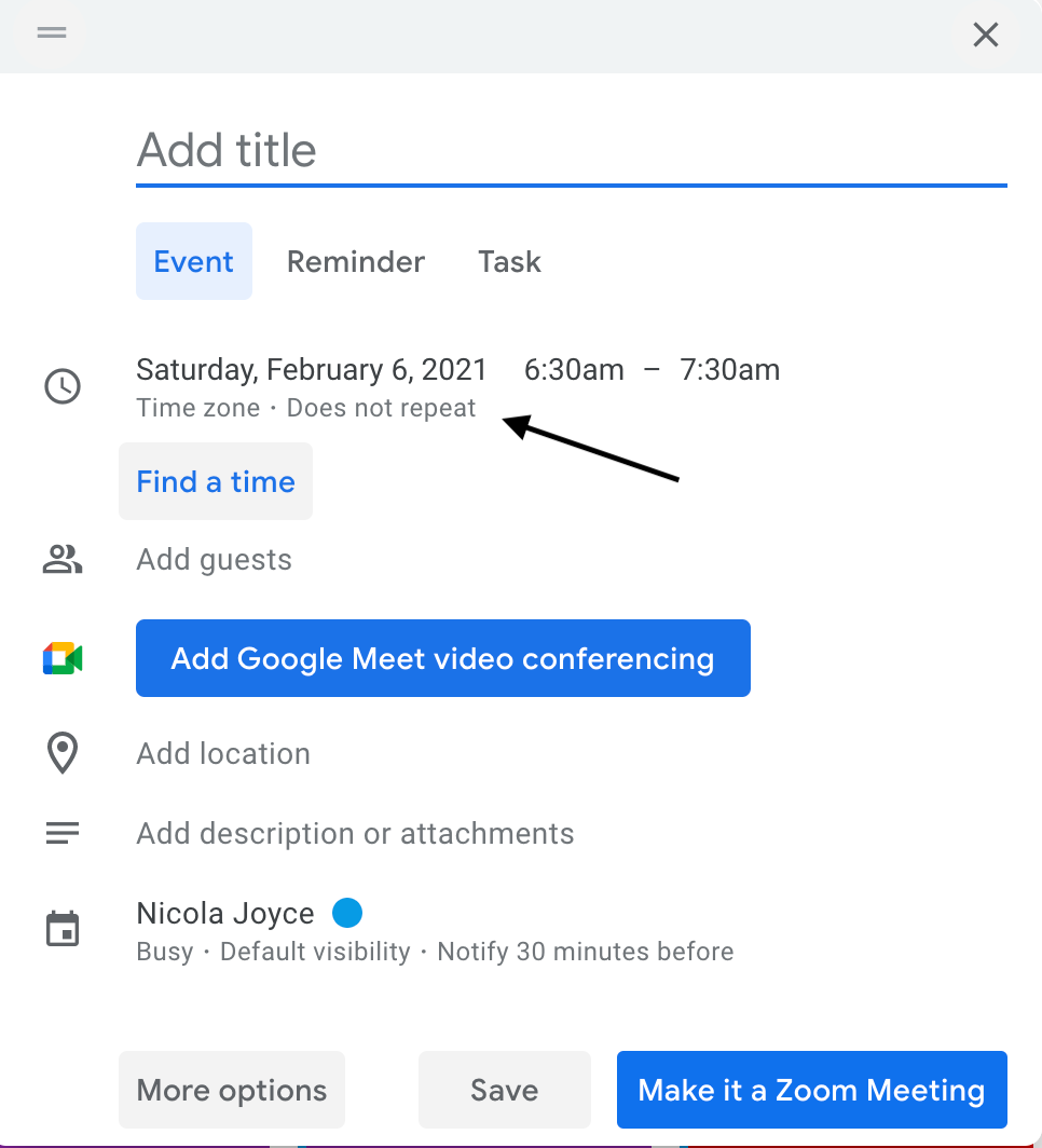 A screenshot showing how to repeat an event in Google Calendar.