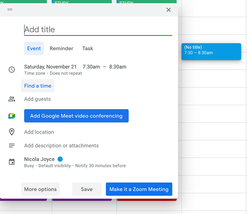 Screen shot of adding an event to a Google Calendar