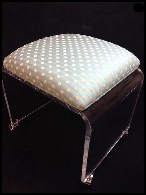 Clear Acrylic Vanity Bench with Fabric Cushion and Chrome Casters