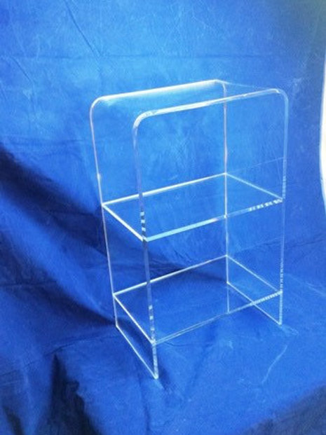 Clear Acrylic Lucite Waterfall Style Freestanding 3 Shelf Etagere