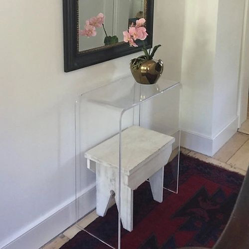 """Clear 1/2"""" Thick Acrylic Lucite Beveled Edge Console Table or Desk"""
