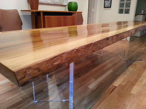 """Clear Acrylic Lucite 1"""" Thick V"""" Shaped Dining Table Bases (2)"""