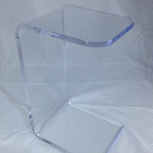"Clear Acrylic Lucite ""C"" Sofa or Side Table"