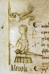 Drawing of Joan of Arc by Clément de Fauquembergue (a doodle on the margin of the protocol of the parliament of Paris, dated 10 May 1429)
