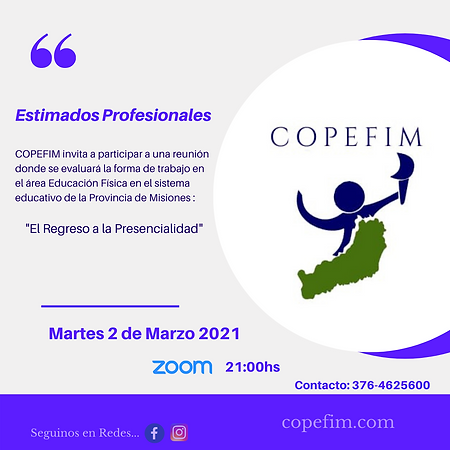 COPEFIM invita a participar a una reunió