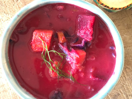 Borscht with Sweet Potatoes and Red Cabbage