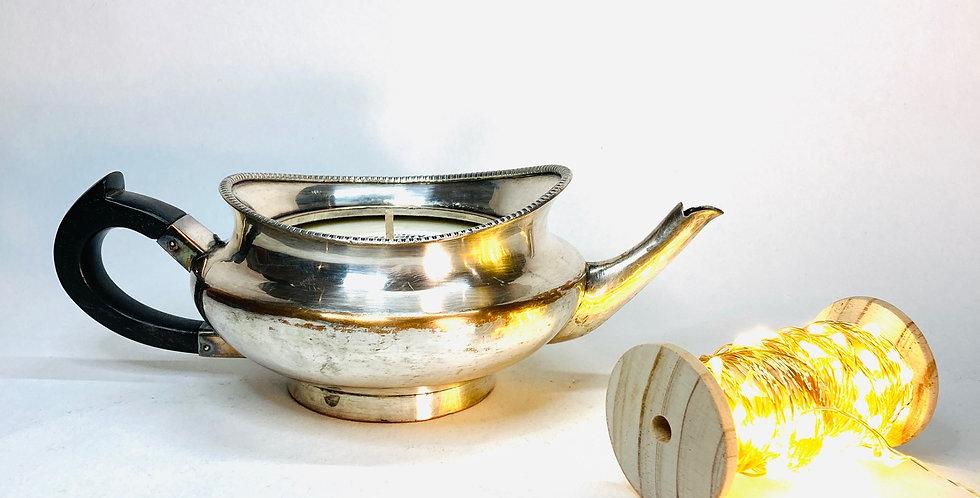 Bougie Théière en métal argenté et ébène