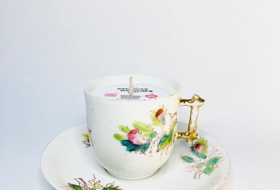 bougie tasse à café porcelaine anse bambou cire végétale
