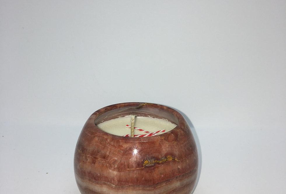 Bougie à fève boule de pierre rose