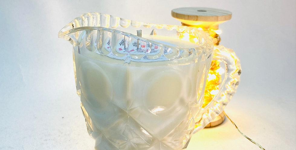 Bougie pot à lait raffiné en verre ancien cire vegan charity bougies de ny