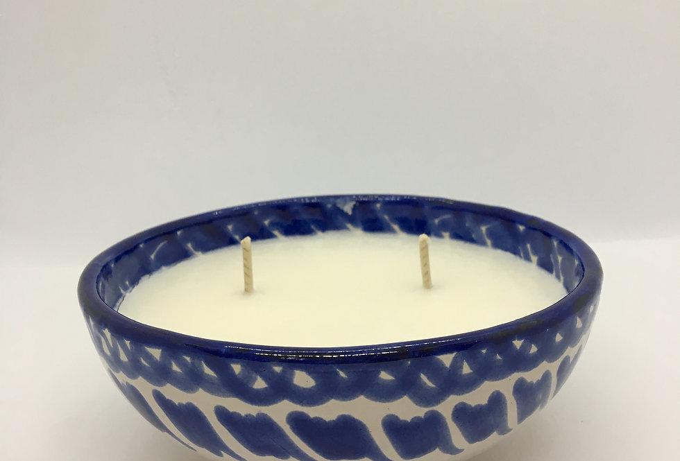 Bougie coupe en poterie bleu et blanc