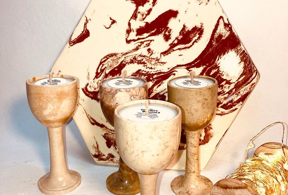 4 Bougies coupes en pierre grège