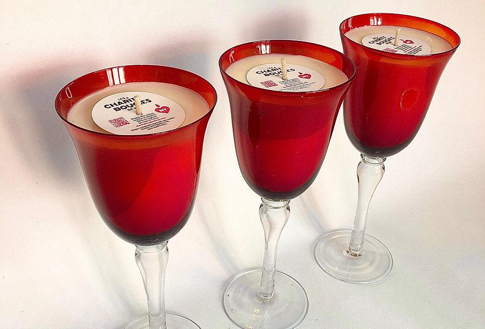Bougie coupe haute en verre rouge vermillon