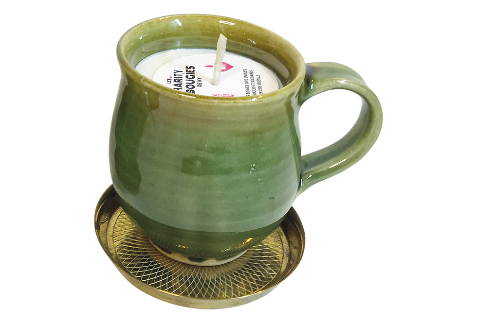 Bougie Tasse rustique sur mini plateau doré