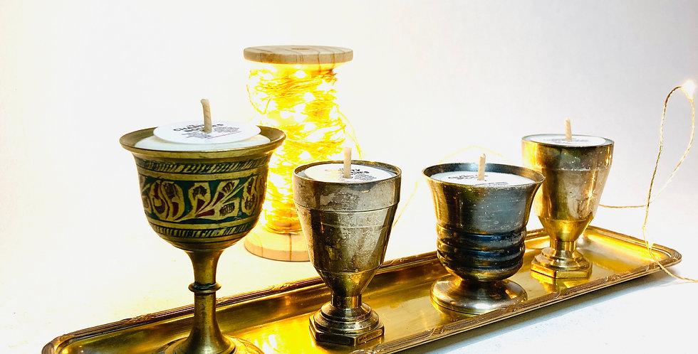 Ensemble de 4 minis bougies métal sur plateau doré