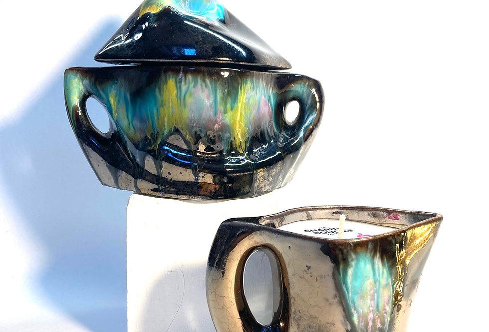 Duo en céramique noire et turquoise