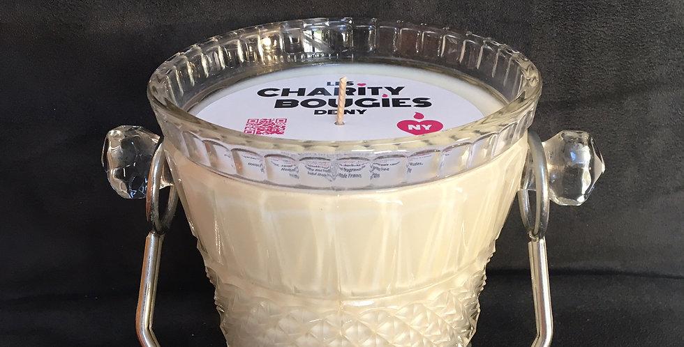 Bougie seau à glaçons en verre moulé charme cire vegan