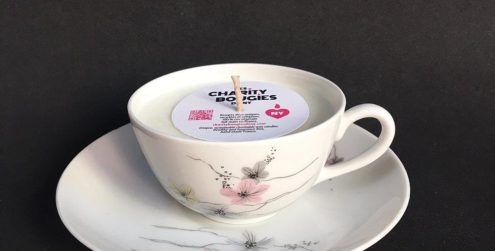 Bougie petite tasse à café en porcelaine fine cire vegan
