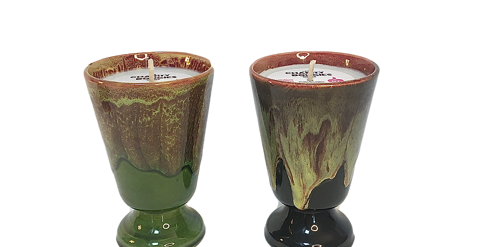 Duo de bougies en grès flammé du Morvan