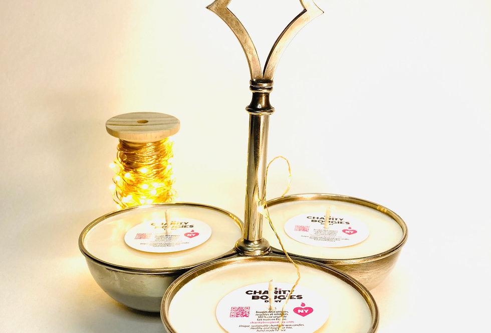 Serviteur à trois soucoupes en métal coulé en bougie végan charity bougies