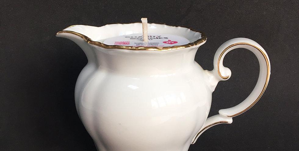 Bougie Pot à lait en porcelaine à filet doré