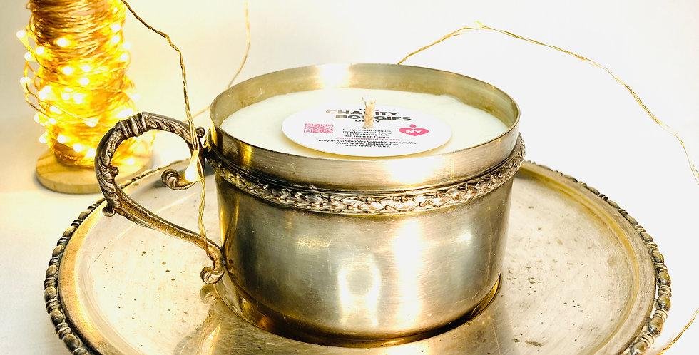 bougie tasse à thé en argenterie ancienne cire vegan charity bougies de ny