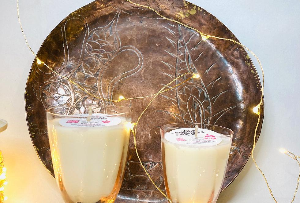 Bougie en verre saumon et noir cire vegan charity bougies de ny