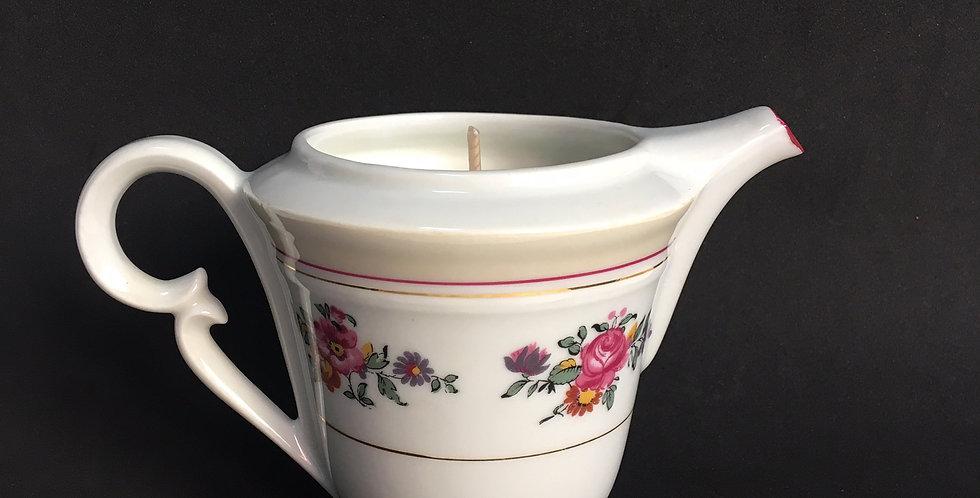 Bougie pot à lait chic et fleuri