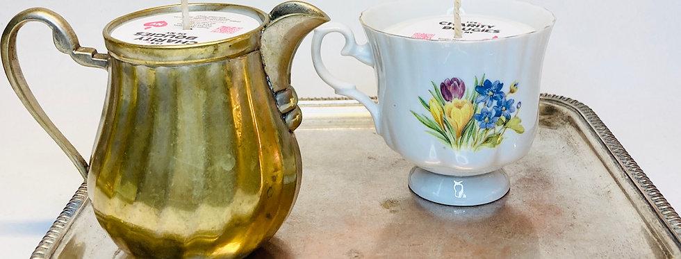 Ensemble Bougie pot à eau et tasse fleurie