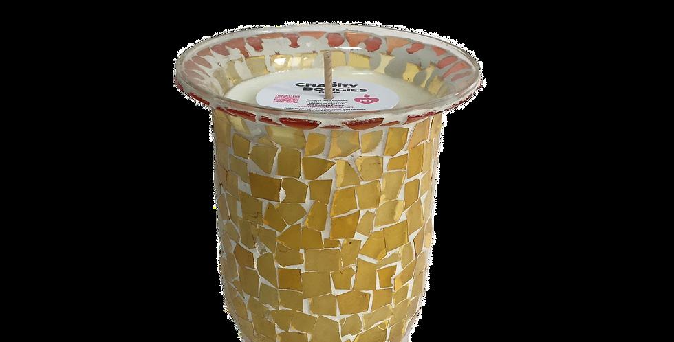 Bougie vase en mosaïque de verre jaune et rouge