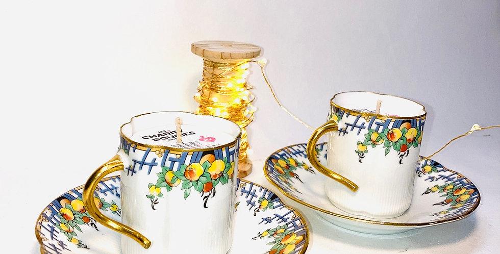 Duo de bougies tasses à café Art nouveau
