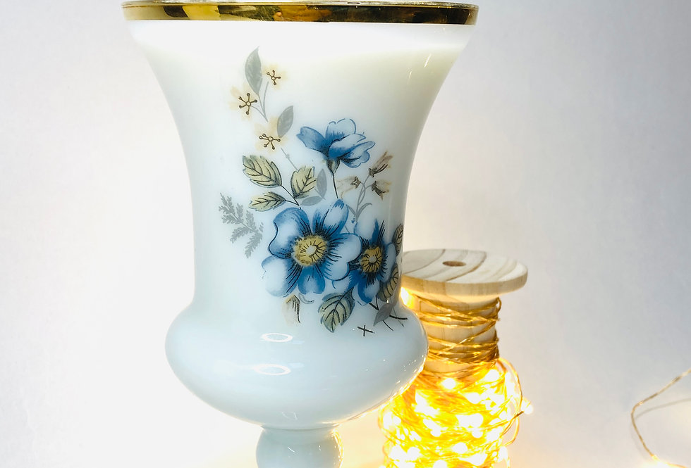 Bougie verre de mariage en opaline bouquet