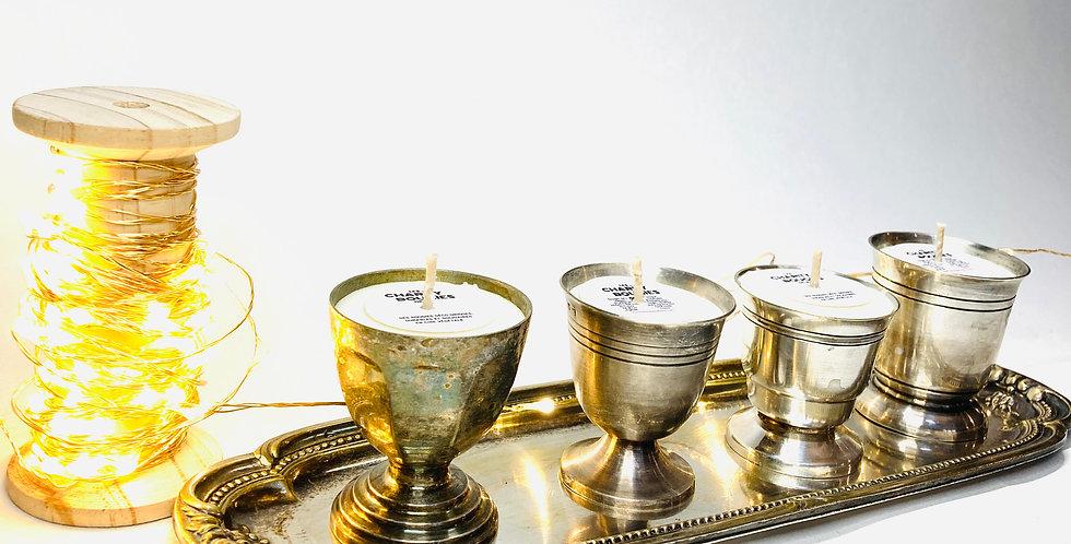 4 minis bougies sur plateau métal argenté cire végan charity bougies