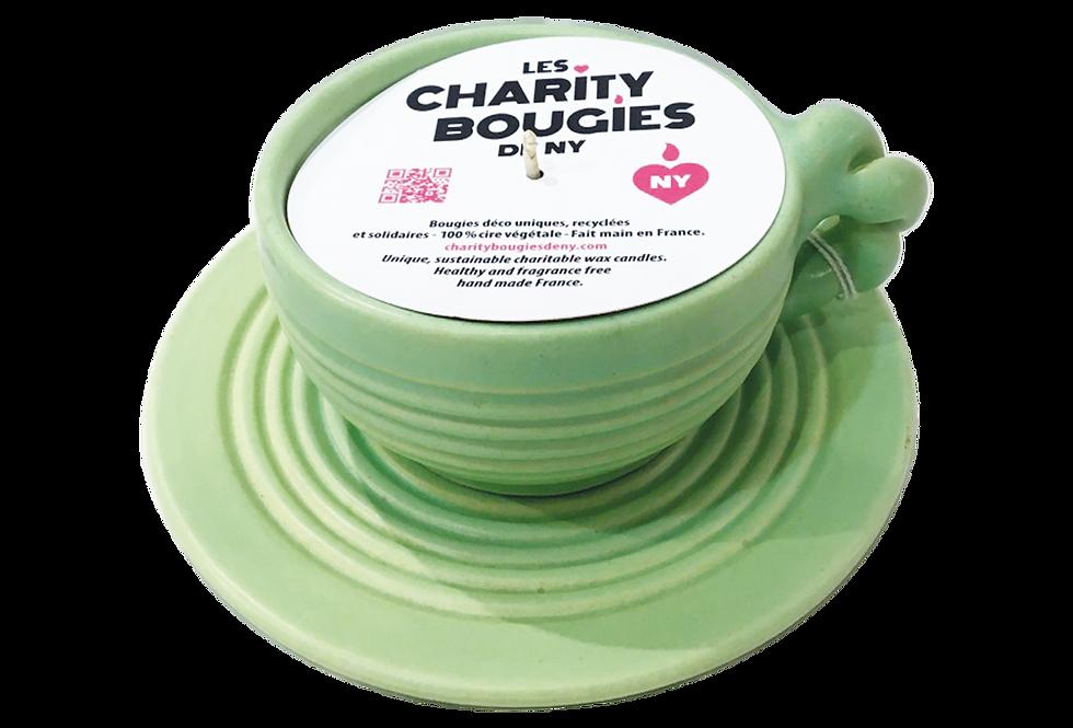 Bougie tasse à chocolat en grès vert amande