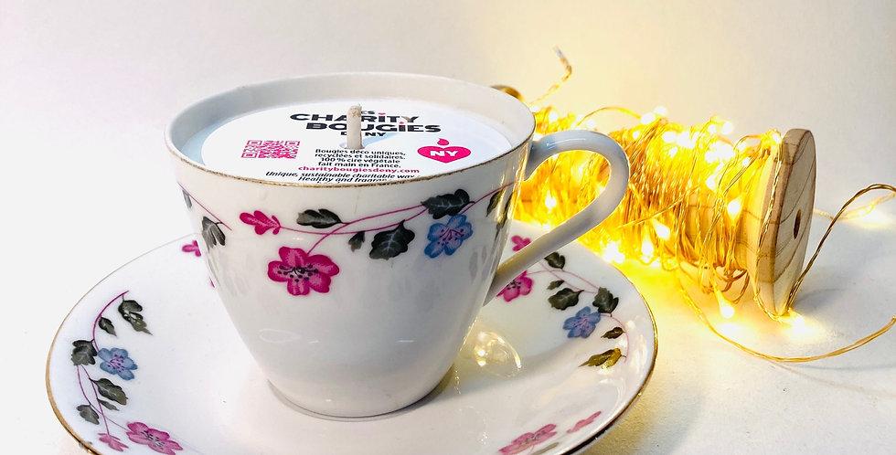 Bougie Tasse à café en porcelaine bleu et rose