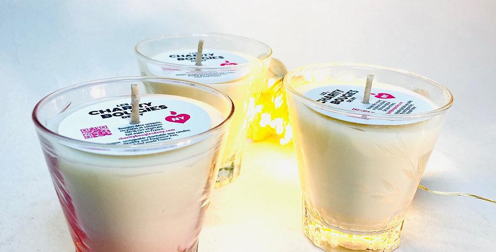 Bougies Trio de petits verre gravés cire vegan charity bougies de ny