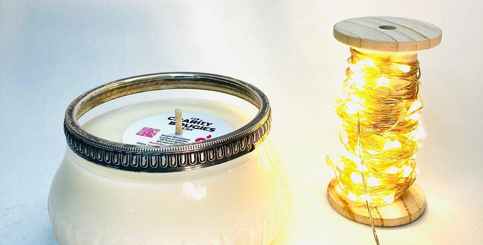 bougie en verre ancien cerclé d'argent cire végan charity bougies de ny