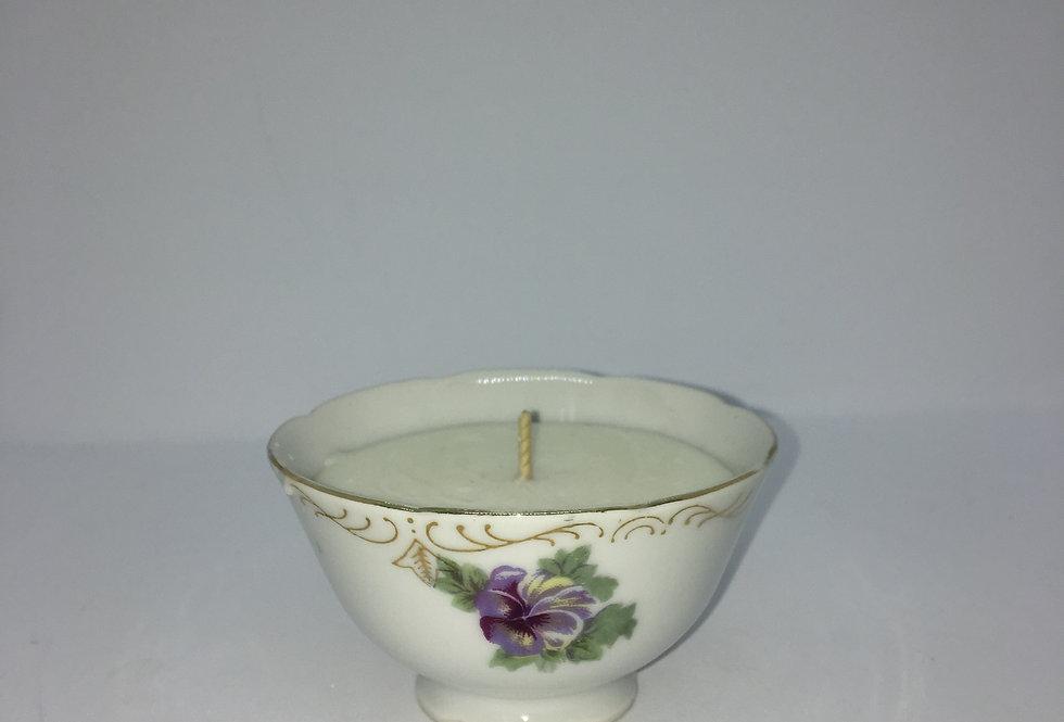 Bougie petit bol en porcelaine fine et fleurie