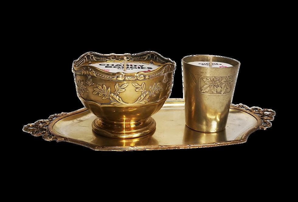 Ensemble de 2 bougies en laiton doré avec plateau ancien