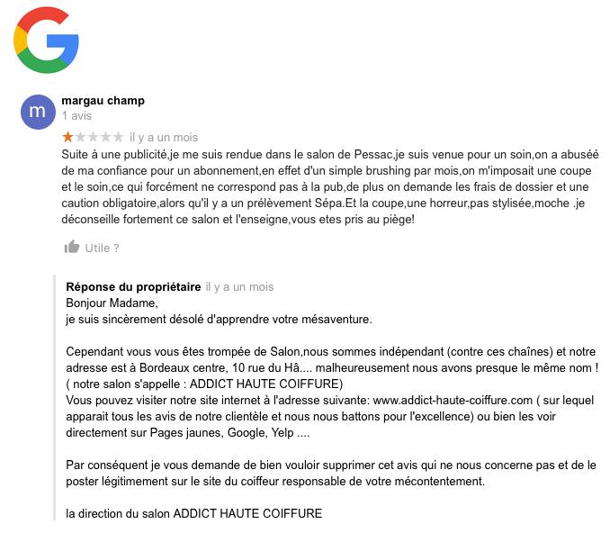 AVIS 34 :Google - FAUX AVIS - IMPORTANT LIRE LA REPONSE