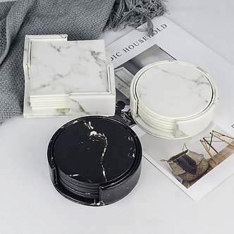 Marble PU Leather Coaster Black White Chic Decoration 6PCS