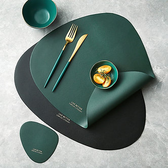 Tableware Placemat PU Leather Heat Insulation Non-Slip for Dining Table